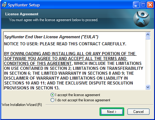 SpyHunter license agreement